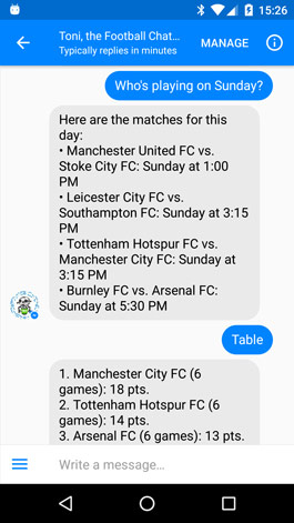 Football Chatbot for Premier League - Facebook Messenger